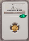 Gold Dollars, 1851 G$1 MS64 NGC. CAC....