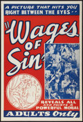 "Movie Posters:Exploitation, Wages of Sin (Real Life Dramas, 1938). One Sheet (28"" X 41"").Exploitation.. ..."