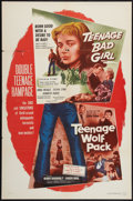 "Movie Posters:Bad Girl, Teenage Bad Girl/Teenage Wolf Pack Combo (DCA, 1957). One Sheet(27"" X 41""). Bad Girl.. ..."