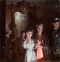 Mainstream Illustration, TOM LOVELL (American, 1909-1997). Evacuated at Night, 1942.Oil on canvas. 34 x 30 in.. Signed lower left. ...