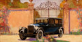 Mainstream Illustration, HARRY TIMMINS (American, 1887-1963). Touring Car. Oil onaluminum. 17 x 33 in.. Signed lower right. ...