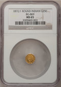 California Fractional Gold: , 1872/1 25C Indian Round 25 Cents, BG-869, Low R.4, MS65 NGC. NGCCensus: (6/1). PCGS Population (11/1). (#10730)...