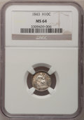 Seated Half Dimes: , 1843 H10C MS64 NGC. NGC Census: (44/33). PCGS Population (41/22).Mintage: 1,165,000. Numismedia Wsl. Price for problem fre...