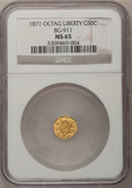 California Fractional Gold: , 1871 50C Liberty Octagonal 50 Cents, BG-911, R.4, MS65 NGC. NGCCensus: (2/6). PCGS Population (12/7). (#10769)...