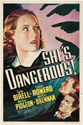 "Movie Posters:Crime, She's Dangerous! (Universal, 1937). One Sheet (27"" X 41"").. ..."