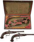 Military & Patriotic:Civil War, Fine Quality Cased Set of Belgian Percussion Target Pistols, Circa 1845. ... (Total: 2 Items)