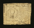 Colonial Notes:Continental Congress Issues, Continental Currency May 10, 1775 $30 Very Fine, tears....