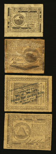 Colonial Notes:Continental Congress Issues, Quartet of Continental Currency Reproductions....