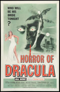 "Movie Posters:Horror, Horror of Dracula (Universal International, 1958). One Sheet (27"" X41""). Horror.. ..."
