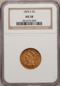 Liberty Half Eagles: , 1894-S $5 AU58 NGC. NGC Census: (45/25). PCGS Population (11/12).Mintage: 55,900. Numismedia Wsl. Price for problem free N...