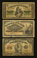 Canadian Currency: , Shinplaster Type Set Good-Very Good.. ... (Total: 3 notes)
