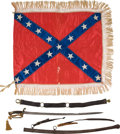 Military & Patriotic:Civil War, His Presentation Flag, the Inscribed Sword He Was Wearing when Killed, and His Sword Belt: Descended for the last 150 years Th... (Total: 3 Items)