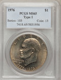 Eisenhower Dollars: , 1976 $1 Type One MS65 PCGS. PCGS Population (457/22). NGC Census: (180/15). Mintage: 4,019,000. Numismedia Wsl. Price for p...