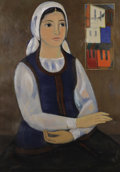 Fine Art - Painting, European:Contemporary   (1950 to present)  , Christo Todorov (Yugoslavian, born 1935). . Untitled(Young Woman with a White Scarf) . 20th century. Oi...