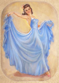 Pin-up and Glamour Art, JULES ERBIT (American, 1889-1968). Girl in a Blue Dress.Pastel on board. 39.5 x 29.5 in.. Not signed. ...