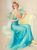 Pin-up and Glamour Art, JULES ERBIT (American, 1889-1968). Girl in a Green Dress.Pastel on board. 37 x 27 in.. Faintly signed lower right. ...