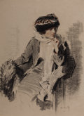 Mainstream Illustration, RAYMOND MOREAU CROSBY (American, 1876-1945). Pensive Lady,c. 1910. Charcoal and pastel on paper. 23 x 16.5 in.. Signed ...