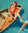 Paintings, EDWARD D'ANCONA (American, 20th Century). Pin-Up in a Row Boat. Oil on board. 18 x 15 in.. Signed lower right. ...