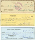 Baseball Collectibles:Others, Hall of Fame Pitchers Signed Checks Lot of 3....