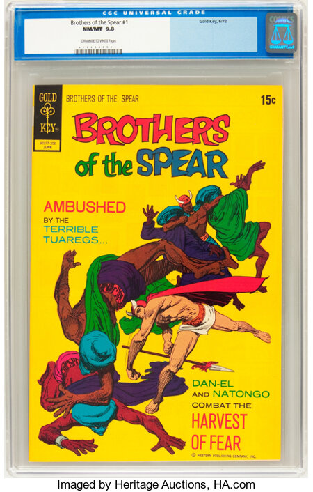 Brothers of the Spear #1 (Gold Key, 1972) CGC NM/MT 9.8 Off-white to white pages....