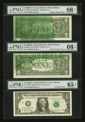 Error Notes:Ink Smears, Fr. 1930-F $1 2003A Federal Reserve Notes. Three ConsecutiveExamples.. ... (Total: 3 notes)