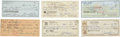 Baseball Collectibles:Others, Hall of Fame Pitchers Signed Checks Lot of 6....