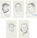 """Football Collectibles:Others, Football Stars Signed Original Artwork Lot of 5 From """"Raitt Collection""""...."""