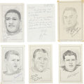 "Baseball Collectibles:Others, Football Stars Signed Original Artwork Lot of 5 From ""RaittCollection""...."