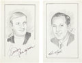 Football Collectibles:Others, Pete Rozelle and Sonny Jurgensen Signed Original Artwork Lot of 2 from 'Raitt Collection'....
