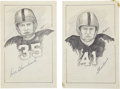 Football Collectibles:Others, Glenn Davis and Doc Blanchard Signed Original Artwork Lot of 2 from 'Raitt Collection'....
