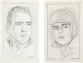 """Football Collectibles:Others, Otto Graham and Bart Starr Signed Original Artwork Lot of 2 From """"Raitt Collection""""...."""