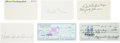 Baseball Collectibles:Others, Negro League Legends Signed Index Cards and Checks Lot of 6....