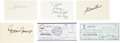Baseball Collectibles:Others, 500 Home Run Club Members Signed Checks and Index Cards Lot of6....