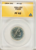 Proof Barber Quarters: , 1904 25C PR62 ANACS. NGC Census: (15/209). PCGS Population (28/175). Mintage: 670. Numismedia Wsl. Price for problem free N...
