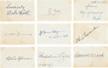 Autographs:Others, Inaugural Baseball Hall of Fame Class Signed Blank Cards Lot of9....