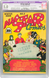 All Star Comics #3 (DC, 1940) CGC Apparent VG/FN 5.0 Moderate (A) Off-white to white pages