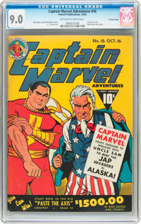 Captain Marvel Adventures #16 Crowley Copy (Fawcett, 1942) CGC VF/NM 9.0 Off-white to white pages