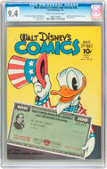 Golden Age (1938-1955):Cartoon Character, Walt Disney's Comics and Stories #46 (Dell, 1944) CGC NM 9.4 Cream to off-white pages....