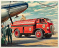 Mainstream Illustration, JOHN GOULD (American, 1906-1996). Refueling the Fleet. Oilon board. 18.5 x 23 in.. Signed lower right. ...
