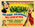 """Movie Posters:Musical, You'll Never Get Rich (Columbia, 1941). Title Lobby Card (11"""" X 14"""").. ..."""