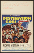"Movie Posters:War, Destination Gobi (20th Century Fox, 1953). Window Card (14"" X 22"").War.. ..."