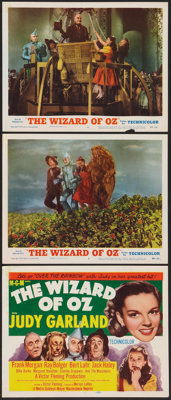 """The Wizard of Oz (MGM, R-1955). Title Lobby Card and Lobby Cards (2) (11"""" X 14""""). Fantasy. ... (Total: 3 Items..."""
