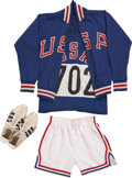 """Miscellaneous Collectibles:General, 1964 """"Bullet Bob"""" Hayes Summer Olympics Race Worn Uniform...."""