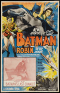 "Movie Posters:Serial, The New Adventures of Batman and Robin (Columbia, 1949). One Sheet(25.5"" X 40"") Chapter 10 -- ""Batman's Last Chance"". Seria..."