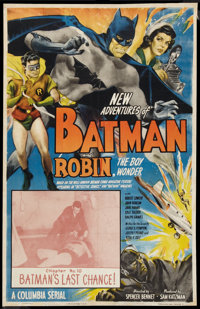 "The New Adventures of Batman and Robin (Columbia, 1949). One Sheet (25.5"" X 40"") Chapter 10 -- ""Batman's..."