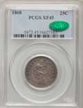 Seated Quarters, 1868 25C XF45 PCGS. CAC. PCGS Population (3/37). NGC Census:(1/22). Mintage: 29,400. Numismedia Wsl. Price for problem fre...