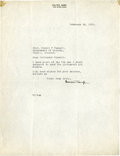 Football Collectibles:Others, 1922 Walter Camp Signed Letter....
