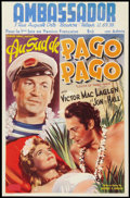 "Movie Posters:Adventure, South of Pago Pago (United Artists, 1947). Post War Belgian (14"" X21.75""). Adventure.. ..."