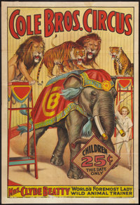 """Circus Poster (Cole Brothers, 1930s). Poster (28"""" X 41""""). Miscellaneous"""