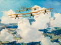 Mainstream Illustration, CHARLES H. HUBBELL (American, 1899-1971). World War IBiplanes. Oil on canvas, mounted on board. 22 x 29 in.. Signedlow...